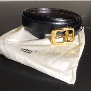 Mont Blac Gold Leather Belt